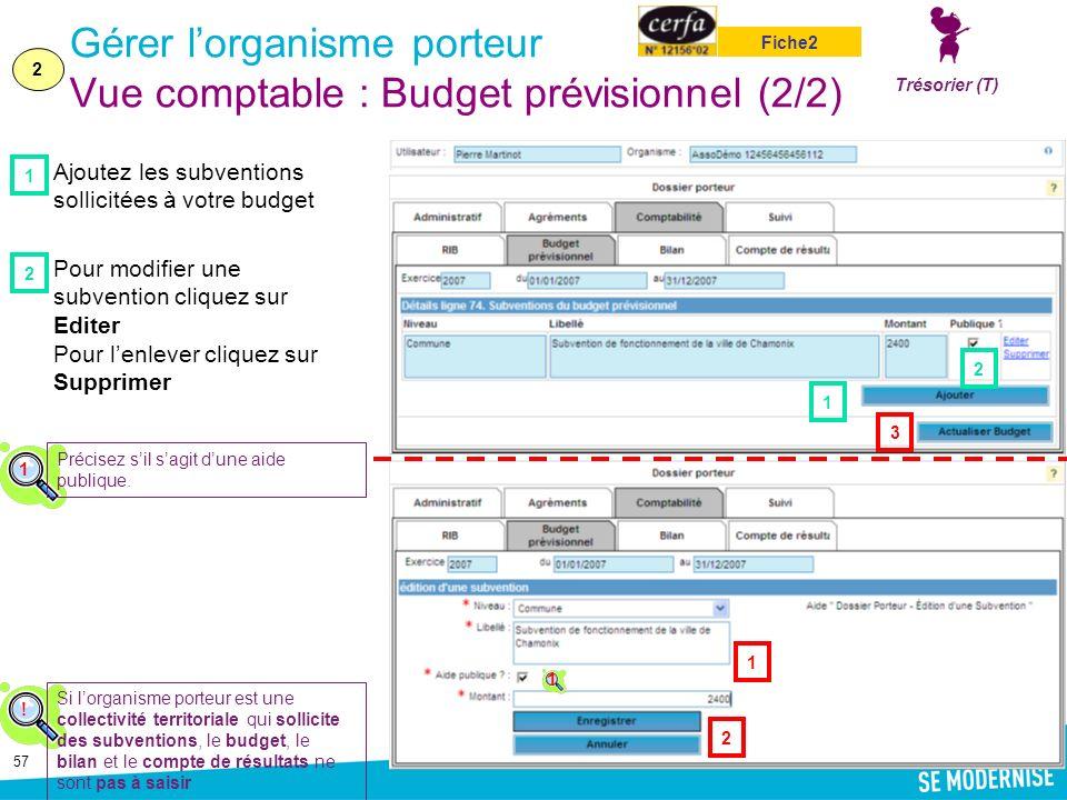 57 Gérer lorganisme porteur Vue comptable : Budget prévisionnel (2/2) Ajoutez les subventions sollicitées à votre budget Pour modifier une subvention cliquez sur Editer Pour lenlever cliquez sur Supprimer 2 1 Trésorier (T) Fiche2 .