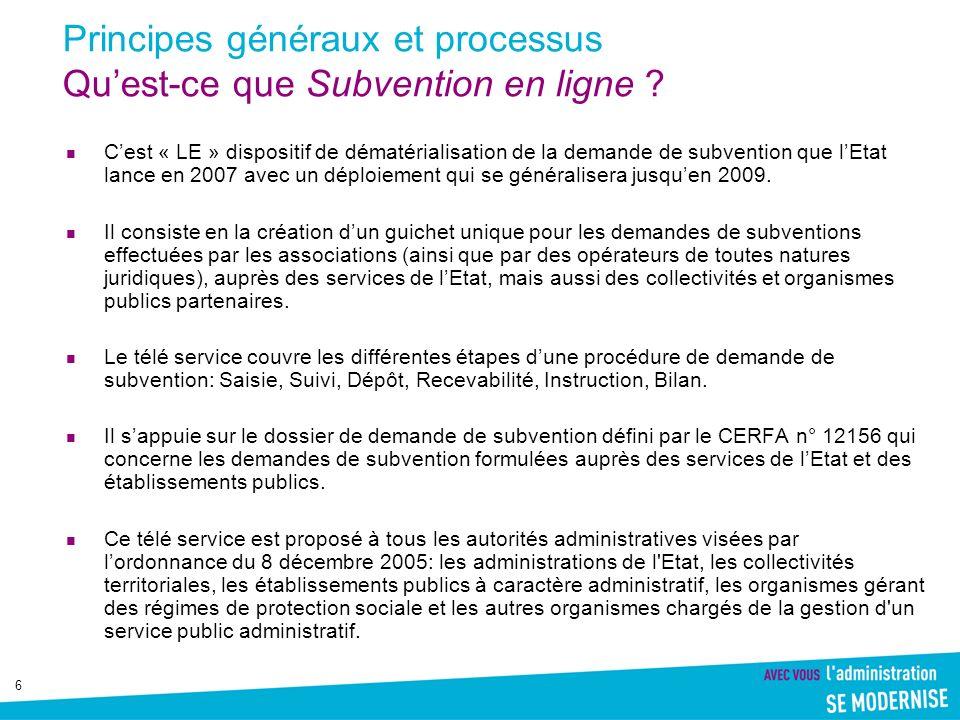 6 Principes généraux et processus Quest-ce que Subvention en ligne ? Cest « LE » dispositif de dématérialisation de la demande de subvention que lEtat