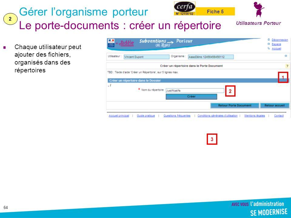 64 Gérer lorganisme porteur Le porte-documents : créer un répertoire Chaque utilisateur peut ajouter des fichiers, organisés dans des répertoires Utilisateurs Porteur 2 Fiche 5 1 2 3