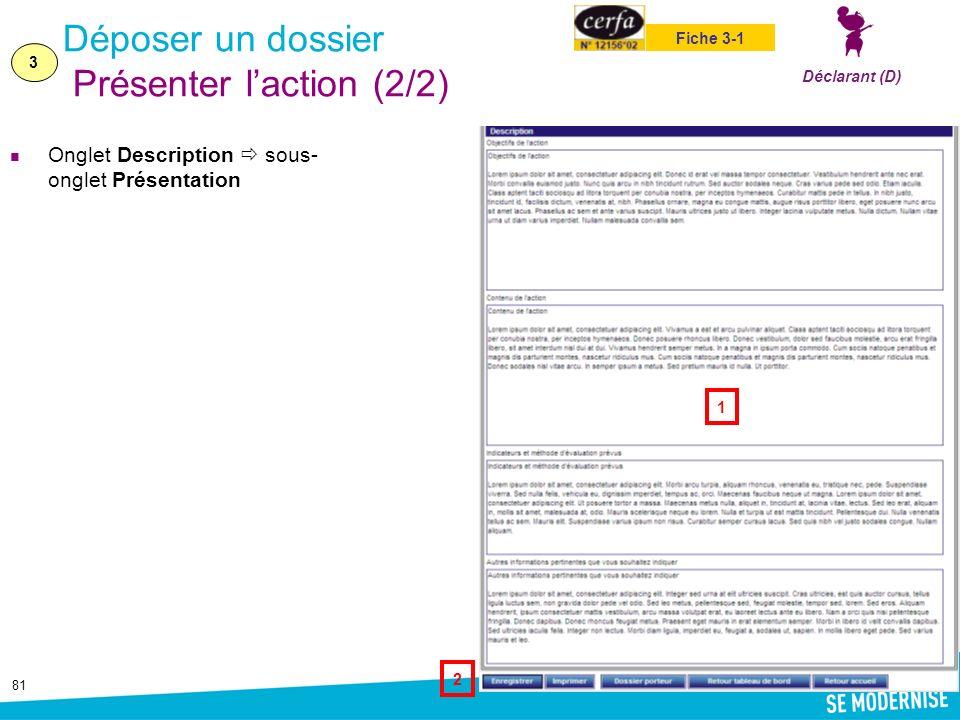 81 Déposer un dossier Présenter laction (2/2) Onglet Description sous- onglet Présentation 3 Déclarant (D) Fiche 3-1 1 2
