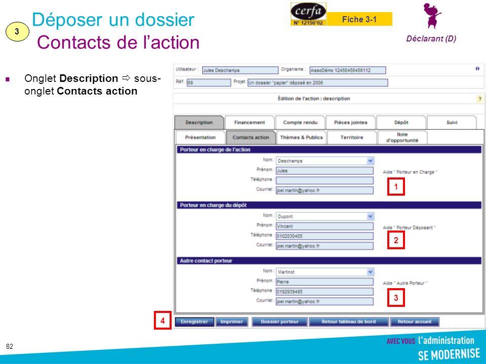 82 Déposer un dossier Contacts de laction Onglet Description sous- onglet Contacts action 3 Déclarant (D) Fiche 3-1 1 4 3 2