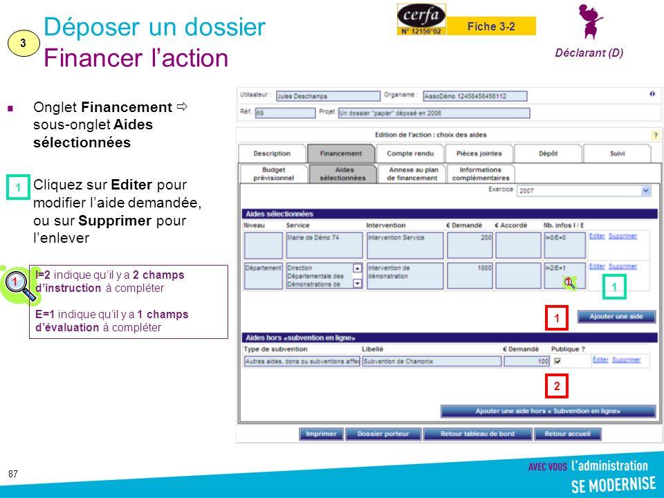 87 Déposer un dossier Financer laction Onglet Financement sous-onglet Aides sélectionnées Cliquez sur Editer pour modifier laide demandée, ou sur Supp