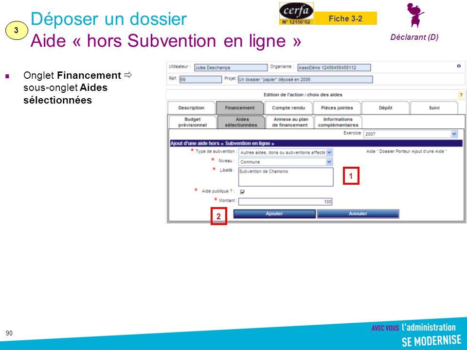 90 Déposer un dossier Aide « hors Subvention en ligne » Onglet Financement sous-onglet Aides sélectionnées 3 Déclarant (D) Fiche 3-2 1 2