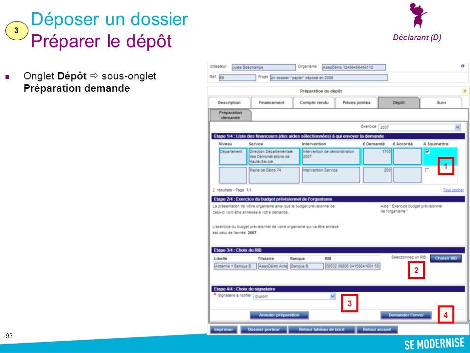 93 Déposer un dossier Préparer le dépôt Onglet Dépôt sous-onglet Préparation demande 3 Déclarant (D) 1 4 2 3