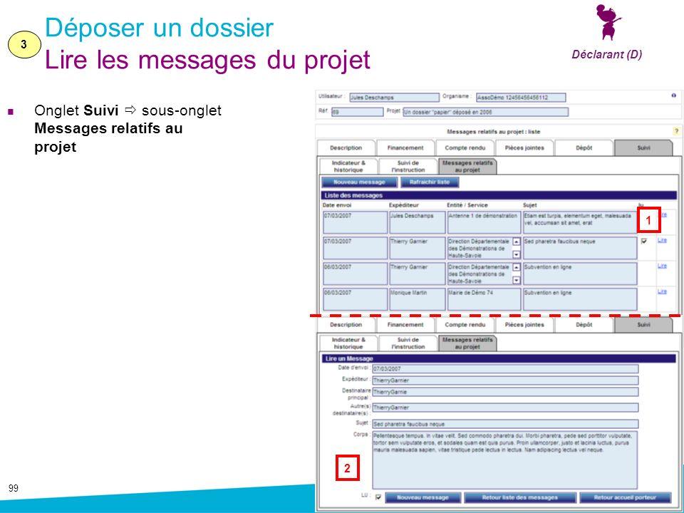 99 Déposer un dossier Lire les messages du projet Onglet Suivi sous-onglet Messages relatifs au projet 3 Déclarant (D) 1 2