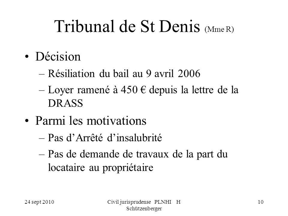 24 sept 2010Civil jurisprudense PLNHI H Schützenberger 10 Tribunal de St Denis (Mme R) Décision –Résiliation du bail au 9 avril 2006 –Loyer ramené à 4