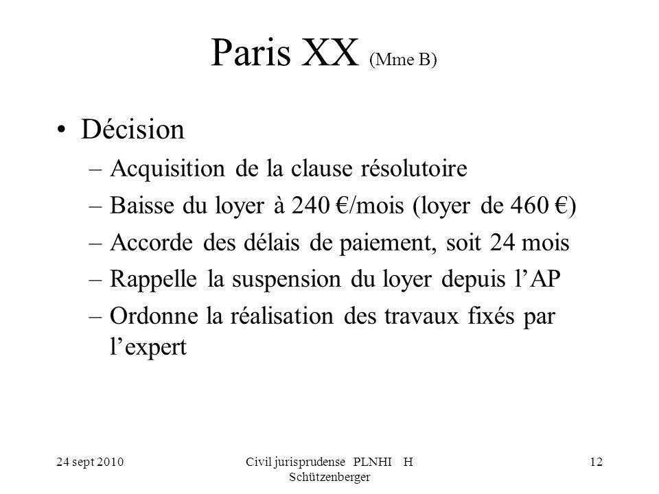 24 sept 2010Civil jurisprudense PLNHI H Schützenberger 12 Paris XX (Mme B) Décision –Acquisition de la clause résolutoire –Baisse du loyer à 240 /mois