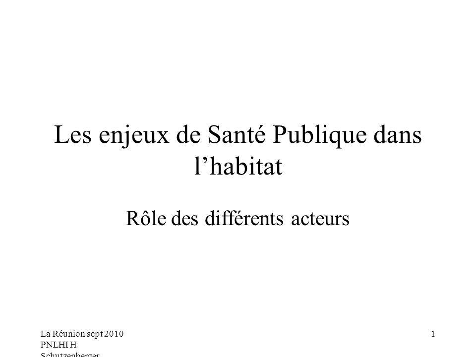 La Réunion sept 2010 PNLHI H Schutzenberger 1 Les enjeux de Santé Publique dans lhabitat Rôle des différents acteurs