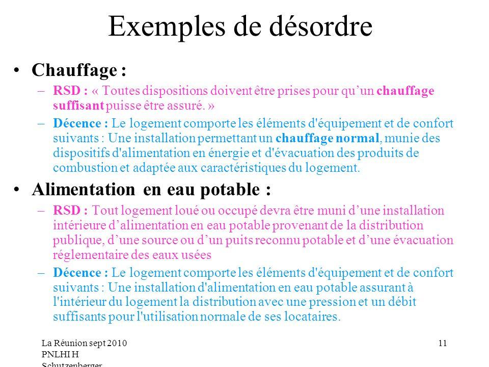 La Réunion sept 2010 PNLHI H Schutzenberger 11 Exemples de désordre Chauffage : –RSD : « Toutes dispositions doivent être prises pour quun chauffage suffisant puisse être assuré.