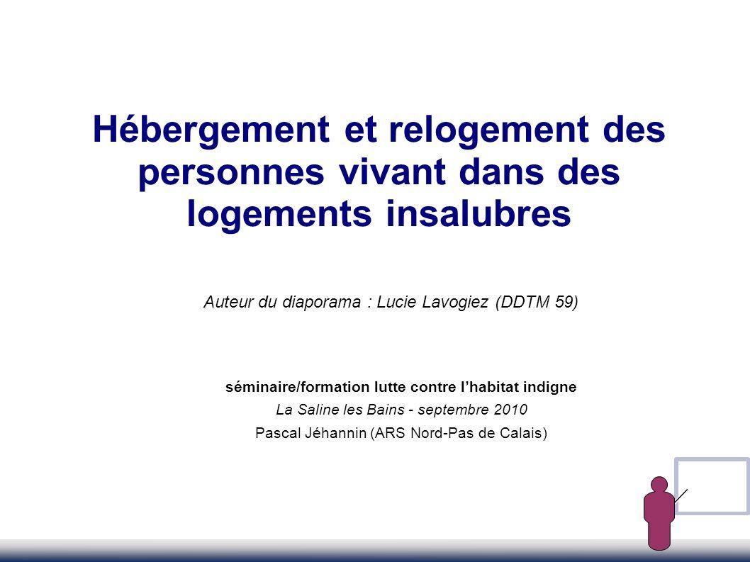 Hébergement et relogement des personnes vivant dans des logements insalubres Auteur du diaporama : Lucie Lavogiez (DDTM 59) séminaire/formation lutte