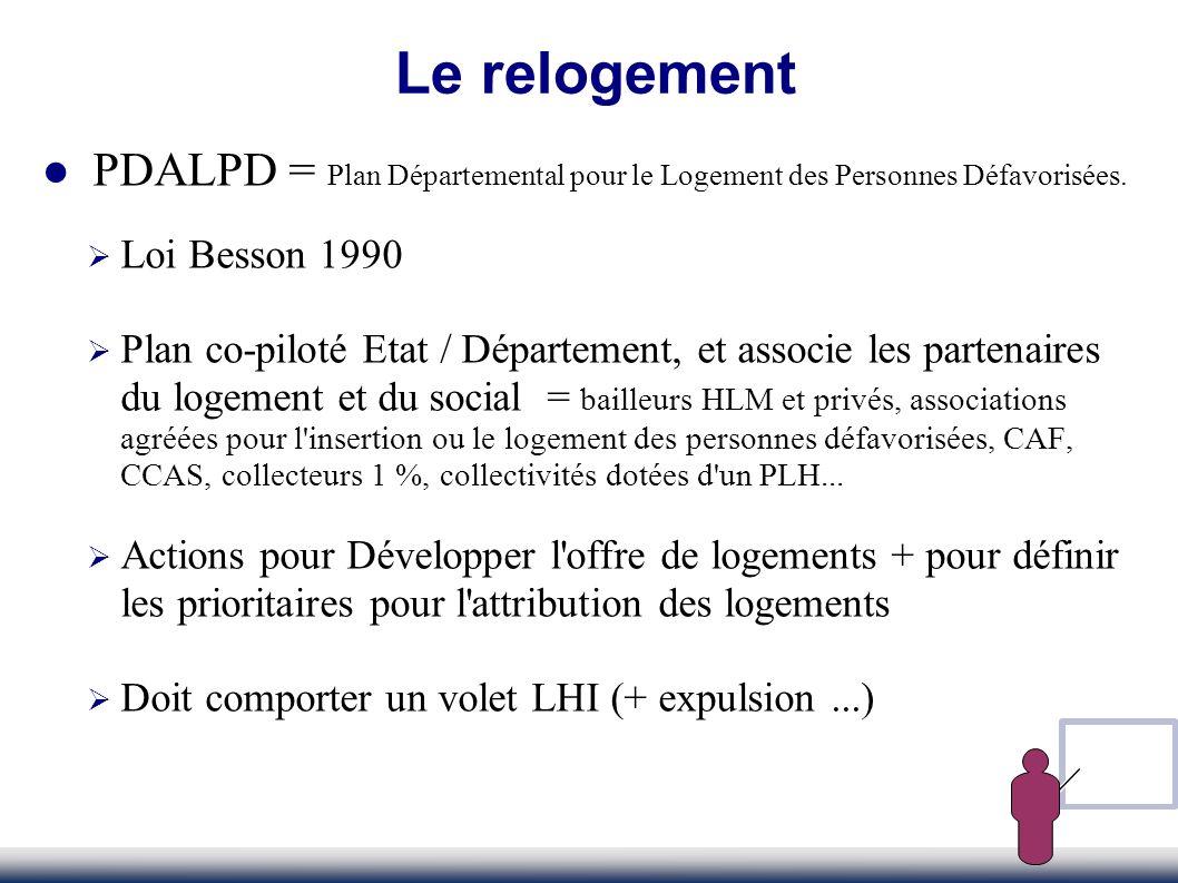 PDALPD = Plan Départemental pour le Logement des Personnes Défavorisées. Loi Besson 1990 Plan co-piloté Etat / Département, et associe les partenaires