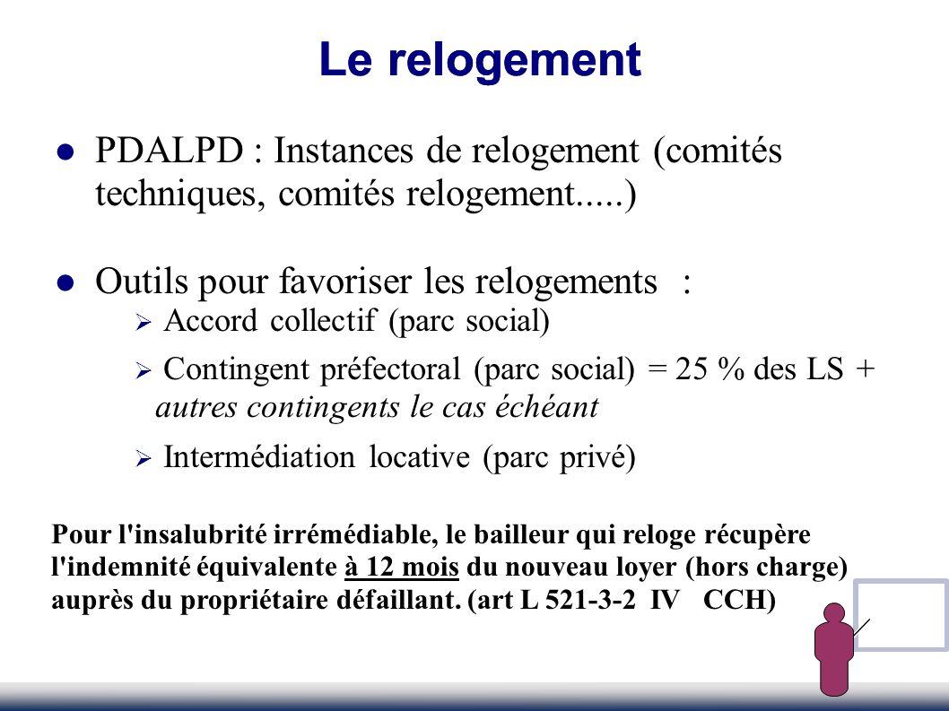 PDALPD : Instances de relogement (comités techniques, comités relogement.....) Outils pour favoriser les relogements : Accord collectif (parc social)