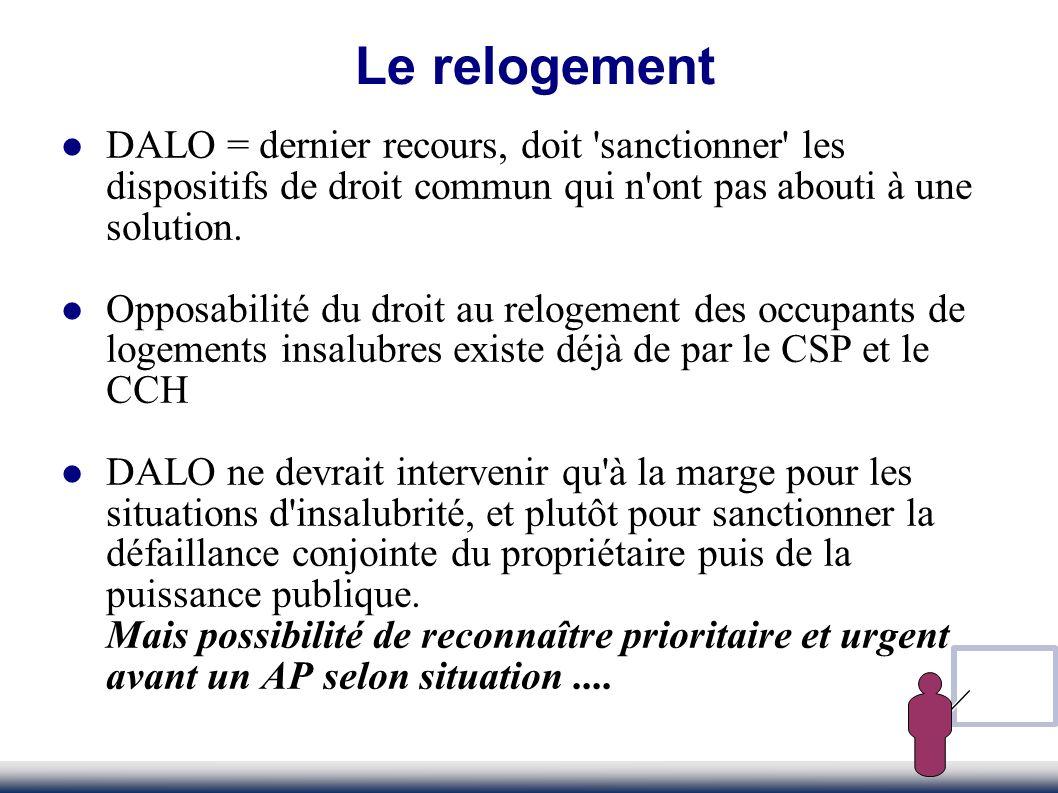 DALO = dernier recours, doit 'sanctionner' les dispositifs de droit commun qui n'ont pas abouti à une solution. Opposabilité du droit au relogement de