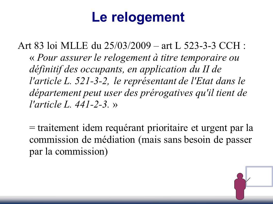 Art 83 loi MLLE du 25/03/2009 – art L 523-3-3 CCH : « Pour assurer le relogement à titre temporaire ou définitif des occupants, en application du II d