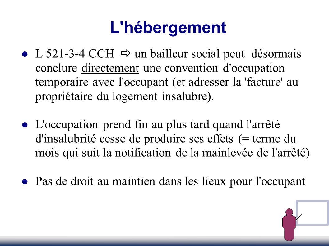 L'hébergement L 521-3-4 CCH un bailleur social peut désormais conclure directement une convention d'occupation temporaire avec l'occupant (et adresser