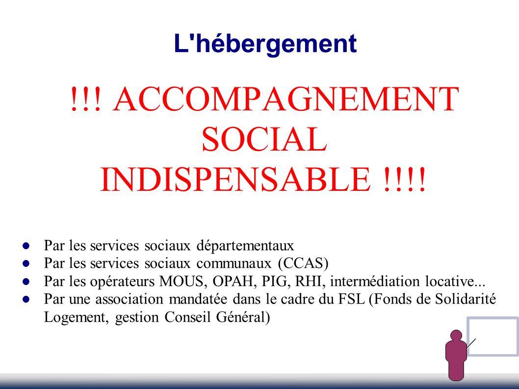 !!! ACCOMPAGNEMENT SOCIAL INDISPENSABLE !!!! L'hébergement Par les services sociaux départementaux Par les services sociaux communaux (CCAS) Par les o