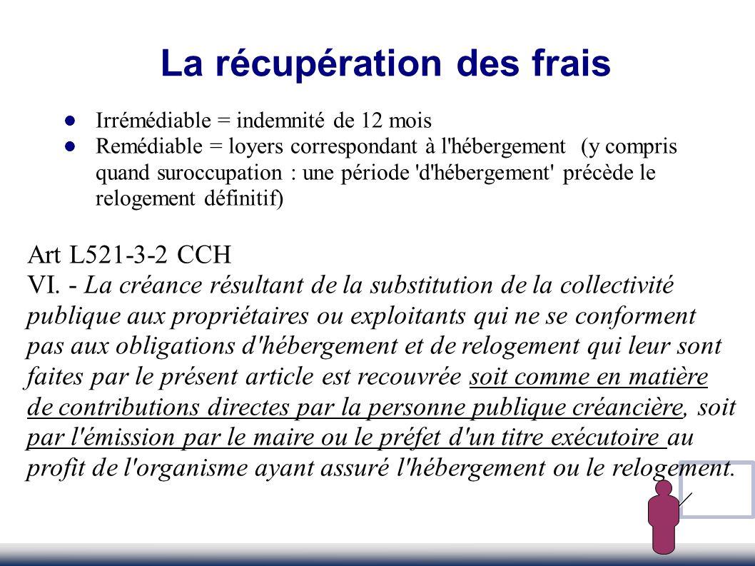 La récupération des frais Irrémédiable = indemnité de 12 mois Remédiable = loyers correspondant à l'hébergement (y compris quand suroccupation : une p
