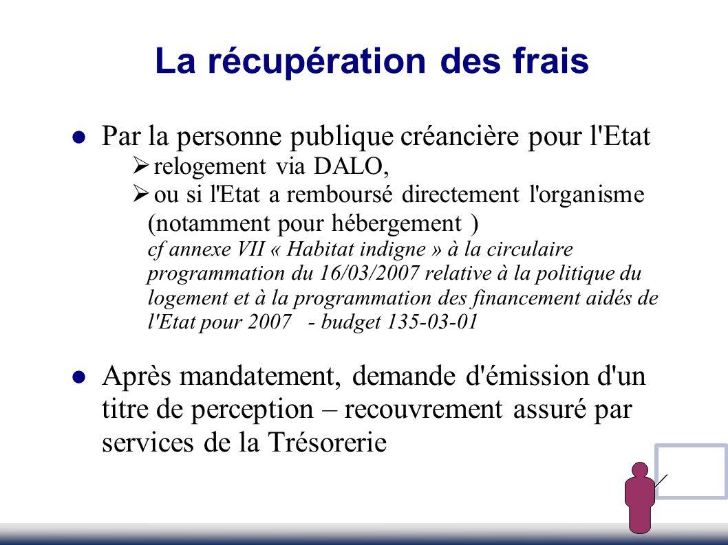 Par la personne publique créancière pour l'Etat relogement via DALO, ou si l'Etat a remboursé directement l'organisme (notamment pour hébergement ) cf