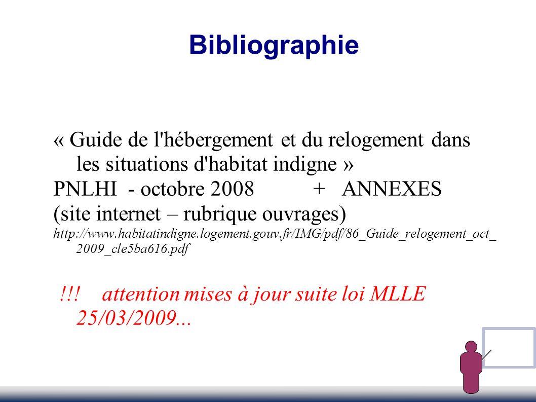 Bibliographie « Guide de l'hébergement et du relogement dans les situations d'habitat indigne » PNLHI - octobre 2008 + ANNEXES (site internet – rubriq