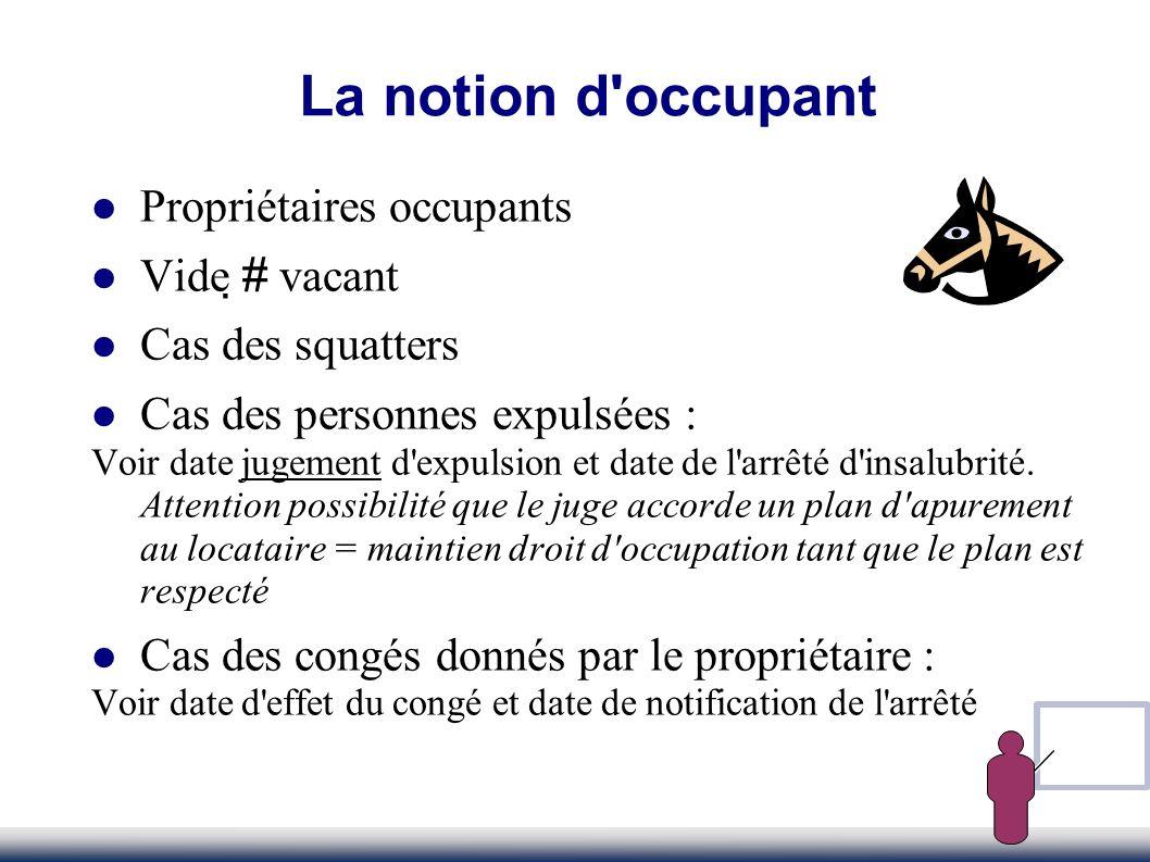 Propriétaires occupants Vide # vacant Cas des squatters Cas des personnes expulsées : Voir date jugement d'expulsion et date de l'arrêté d'insalubrité