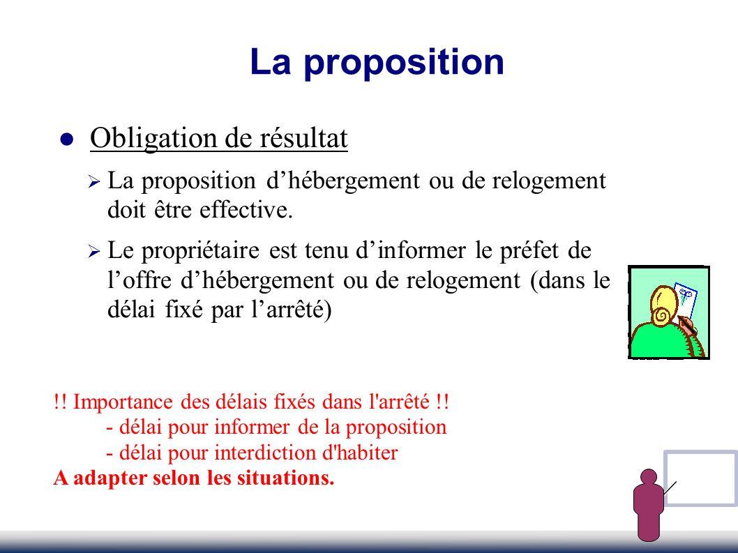 La proposition Obligation de résultat La proposition dhébergement ou de relogement doit être effective. Le propriétaire est tenu dinformer le préfet d