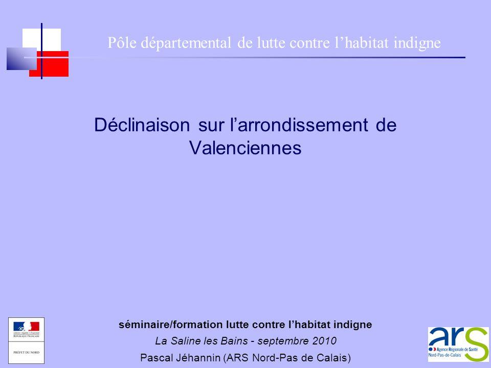 Déclinaison sur larrondissement de Valenciennes Pôle départemental de lutte contre lhabitat indigne séminaire/formation lutte contre lhabitat indigne