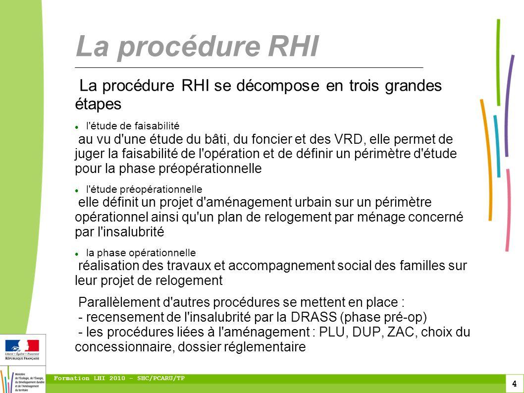 4 Formation LHI 2010 - SHC/PCARU/TP La procédure RHI se décompose en trois grandes étapes l'étude de faisabilité au vu d'une étude du bâti, du foncier