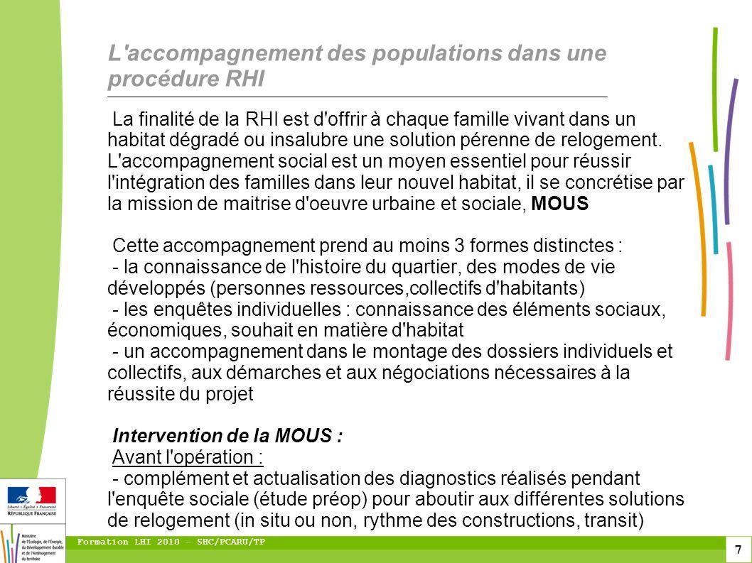 7 Formation LHI 2010 - SHC/PCARU/TP La finalité de la RHI est d'offrir à chaque famille vivant dans un habitat dégradé ou insalubre une solution péren