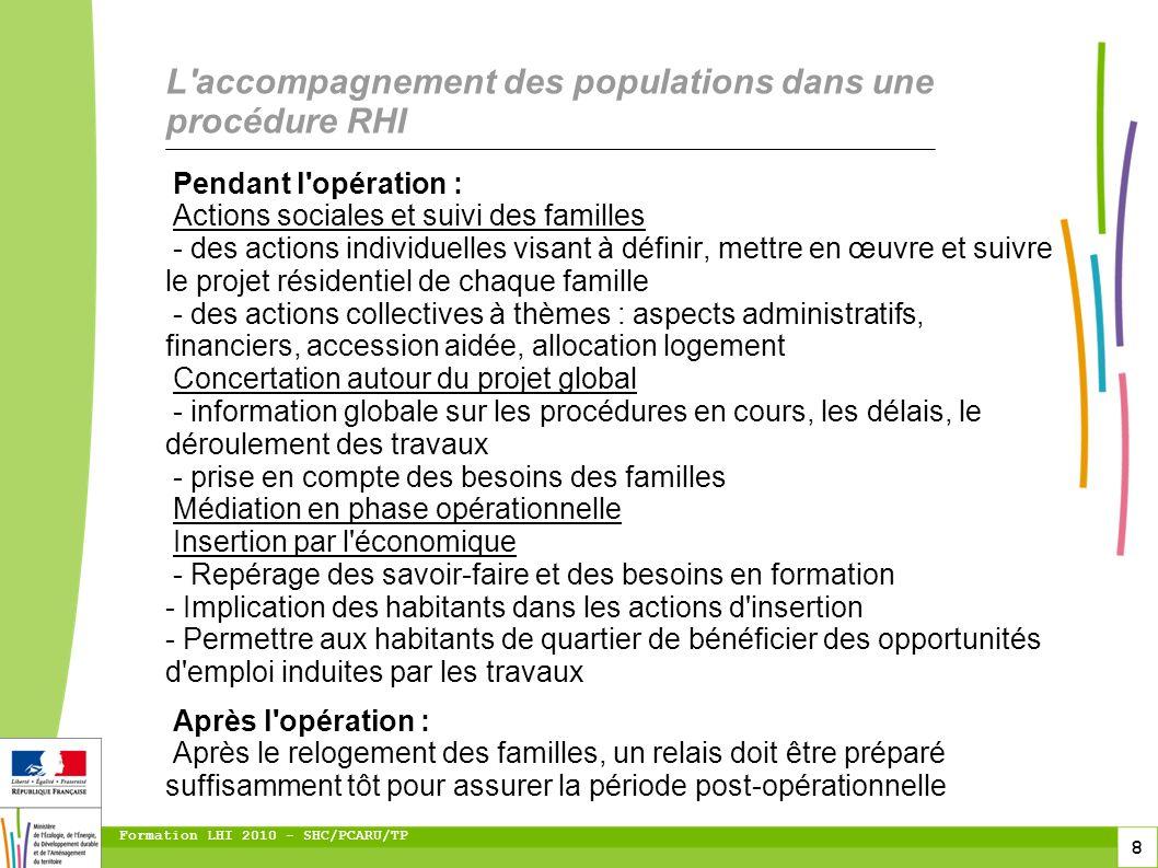 8 Formation LHI 2010 - SHC/PCARU/TP Pendant l'opération : Actions sociales et suivi des familles - des actions individuelles visant à définir, mettre