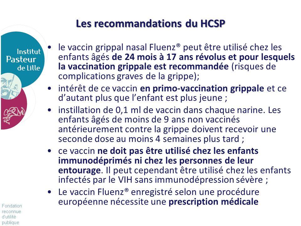 Fondation reconnue dutilité publique Pour vivre mieux, plus longtemps Les recommandations du HCSP le vaccin grippal nasal Fluenz® peut être utilisé ch