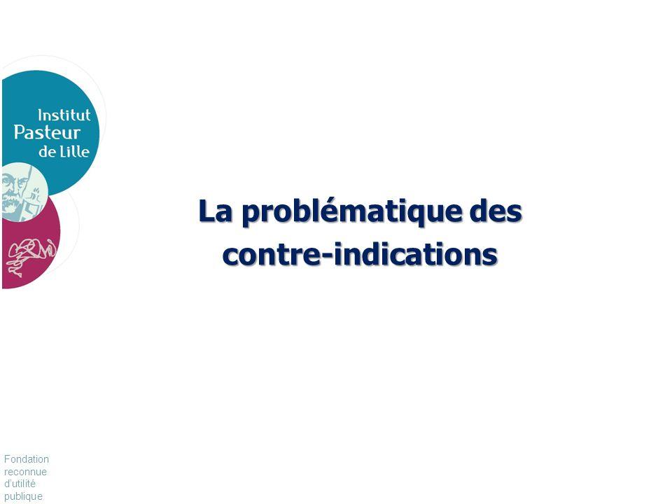 Fondation reconnue dutilité publique Pour vivre mieux, plus longtemps La problématique des contre-indications