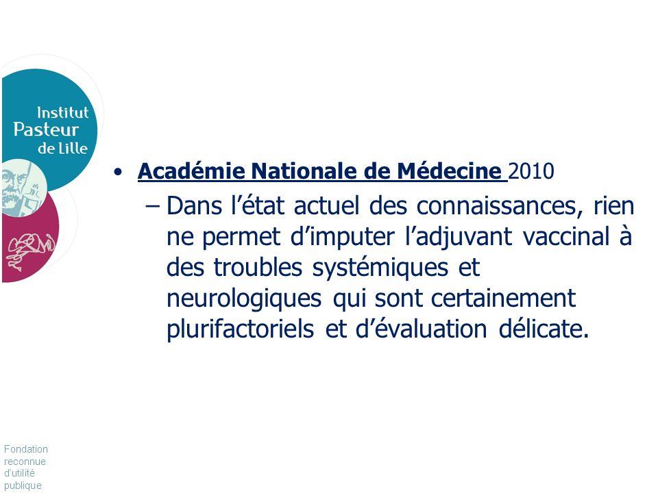 Fondation reconnue dutilité publique Pour vivre mieux, plus longtemps Académie Nationale de Médecine 2010 –Dans létat actuel des connaissances, rien n