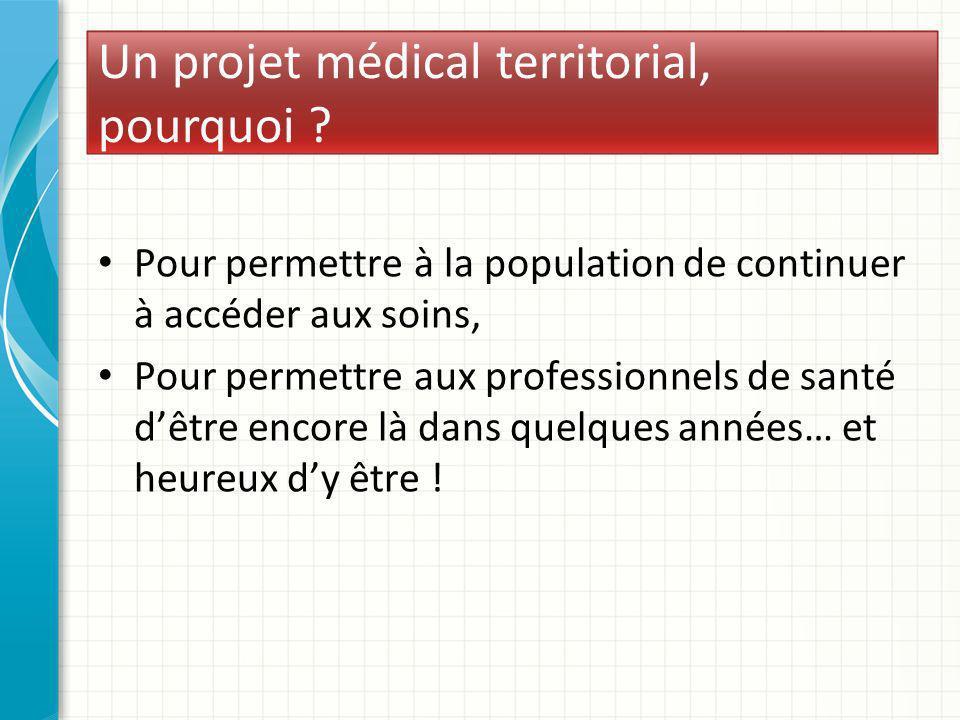Un projet médical territorial, pourquoi ? Pour permettre à la population de continuer à accéder aux soins, Pour permettre aux professionnels de santé