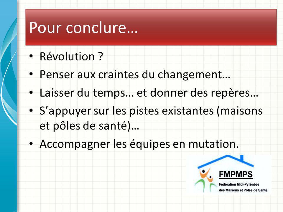 Pour conclure… Révolution ? Penser aux craintes du changement… Laisser du temps… et donner des repères… Sappuyer sur les pistes existantes (maisons et