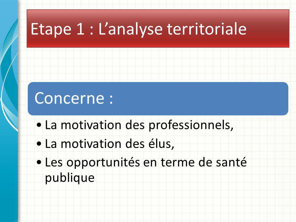 Etape 1 : Lanalyse territoriale Concerne : La motivation des professionnels, La motivation des élus, Les opportunités en terme de santé publique