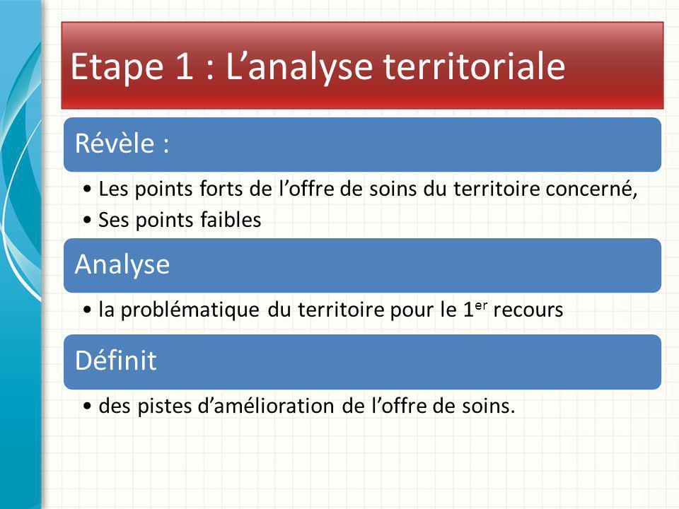 Etape 1 : Lanalyse territoriale Révèle : Les points forts de loffre de soins du territoire concerné, Ses points faibles Analyse la problématique du te