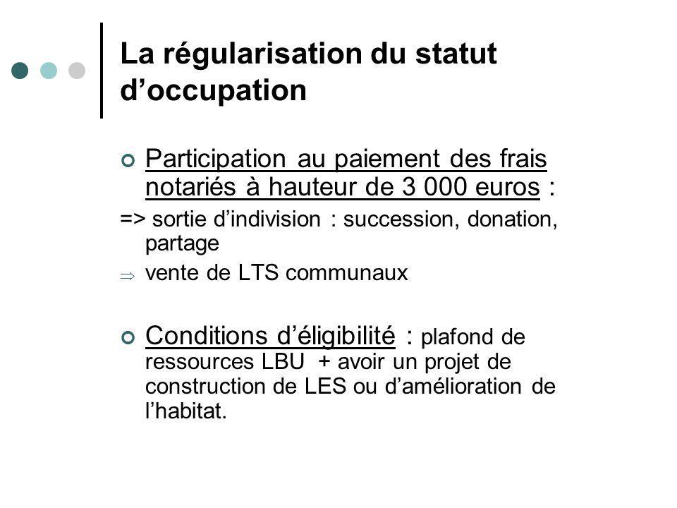 La régularisation du statut doccupation Participation au paiement des frais notariés à hauteur de 3 000 euros : => sortie dindivision : succession, do