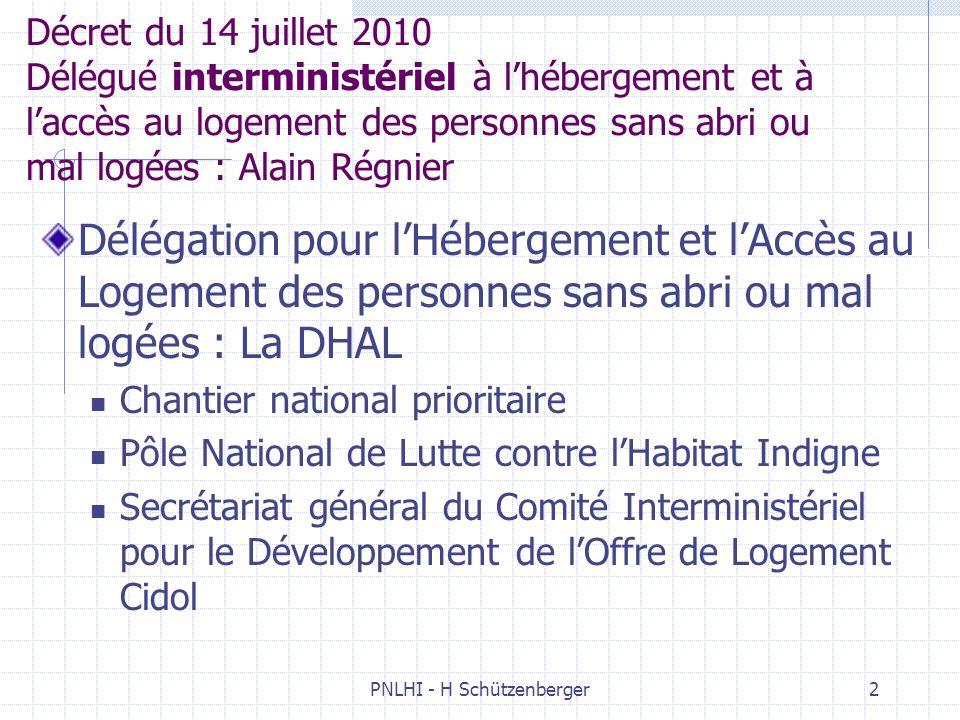PNLHI - H Schützenberger2 Décret du 14 juillet 2010 Délégué interministériel à lhébergement et à laccès au logement des personnes sans abri ou mal log