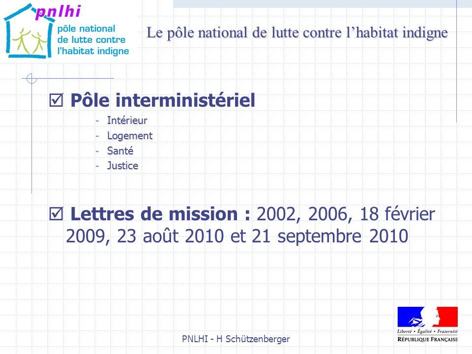 PNLHI - H Schützenberger3 Pôle interministériel - Intérieur - Logement - Santé - Justice Lettres de mission : 2002, 2006, 18 février 2009, 23 août 201