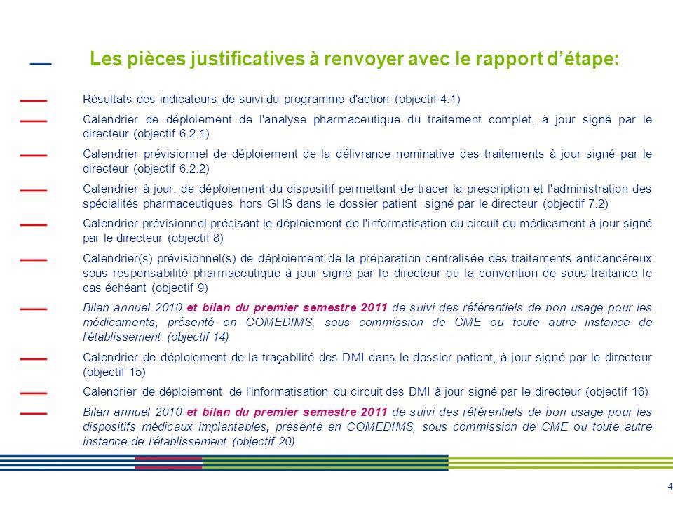 4 Les pièces justificatives à renvoyer avec le rapport détape: Résultats des indicateurs de suivi du programme d'action (objectif 4.1) Calendrier de d