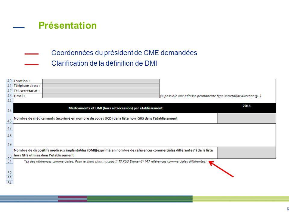 6 Présentation Coordonnées du président de CME demandées Clarification de la définition de DMI