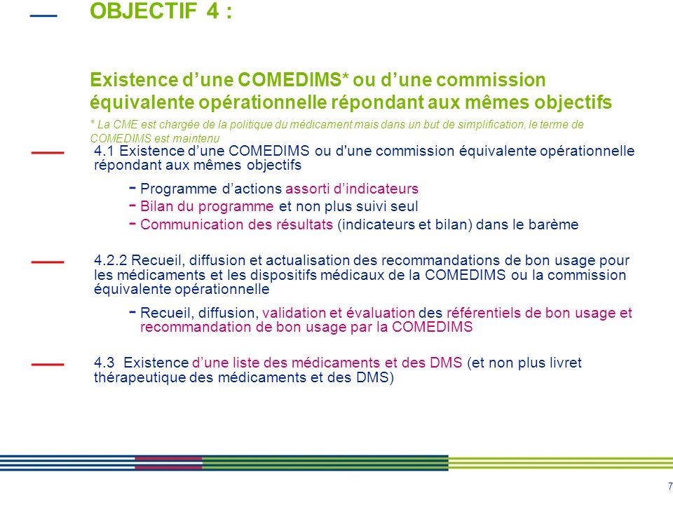 7 OBJECTIF 4 : Existence dune COMEDIMS* ou dune commission équivalente opérationnelle répondant aux mêmes objectifs * La CME est chargée de la politiq