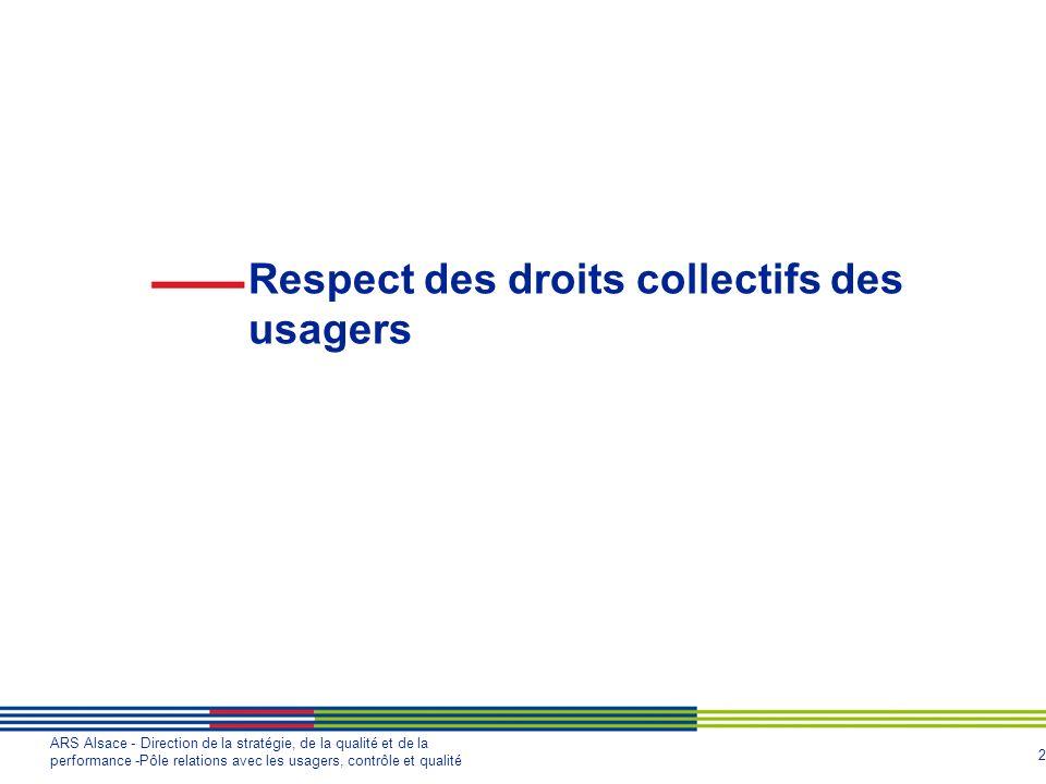 2 ARS Alsace - Direction de la stratégie, de la qualité et de la performance -Pôle relations avec les usagers, contrôle et qualité Respect des droits