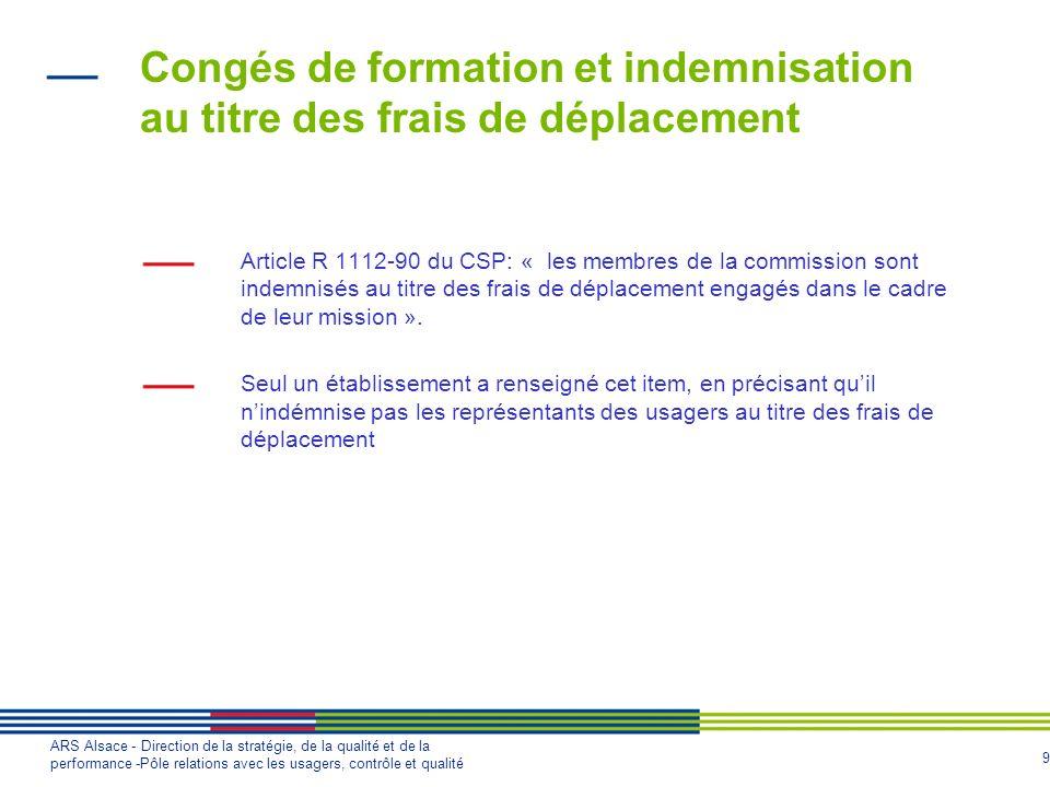 9 ARS Alsace - Direction de la stratégie, de la qualité et de la performance -Pôle relations avec les usagers, contrôle et qualité Congés de formation