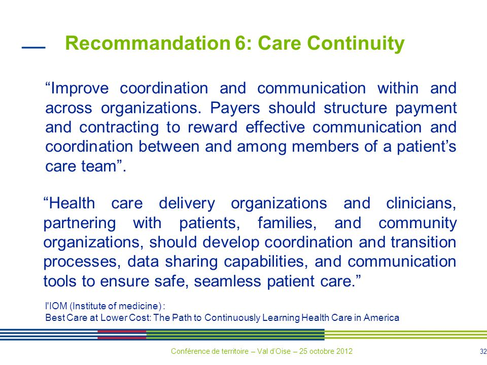 32 Recommandation 6: Care Continuity Improve coordination and communication within and across organizations.