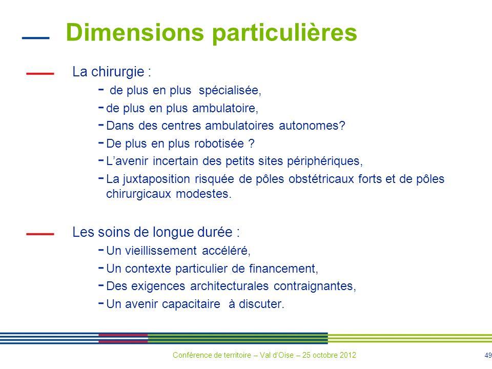 49 Dimensions particulières La chirurgie : - de plus en plus spécialisée, - de plus en plus ambulatoire, - Dans des centres ambulatoires autonomes.