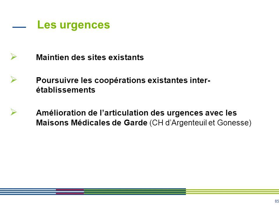 85 Les urgences Maintien des sites existants Poursuivre les coopérations existantes inter- établissements Amélioration de larticulation des urgences avec les Maisons Médicales de Garde (CH dArgenteuil et Gonesse)