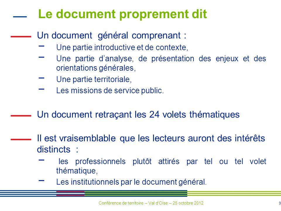 9 Le document proprement dit Un document général comprenant : Une partie introductive et de contexte, Une partie danalyse, de présentation des enjeux et des orientations générales, Une partie territoriale, Les missions de service public.