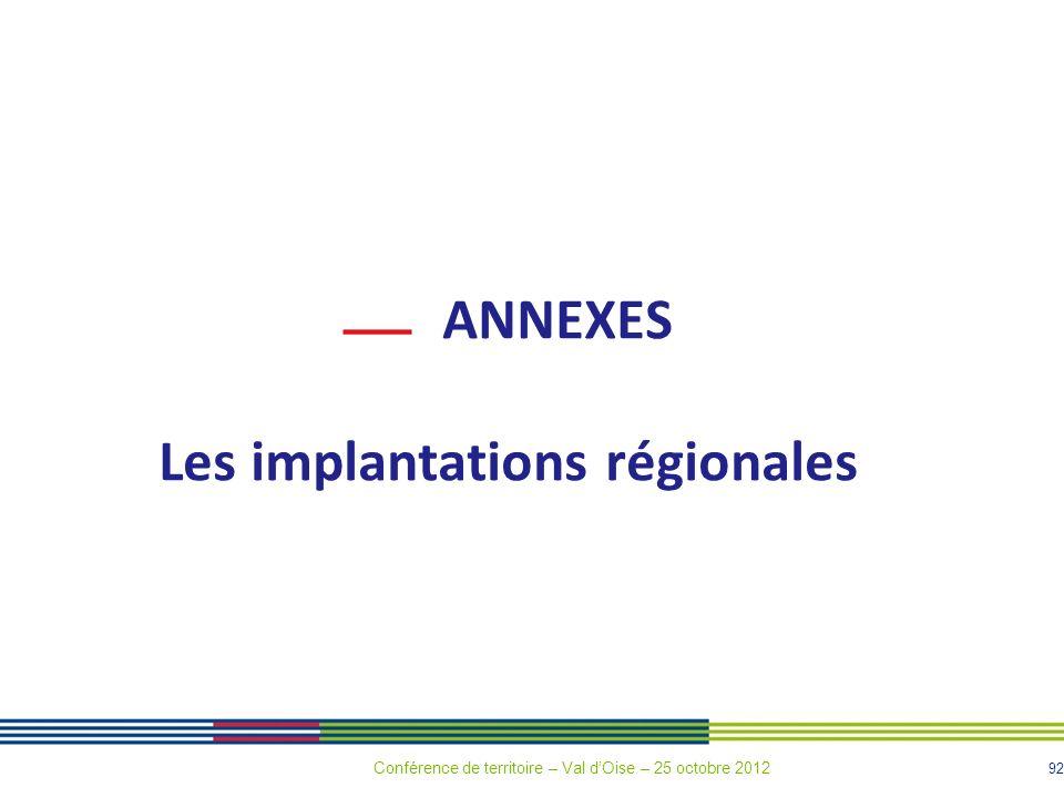 92 ANNEXES Les implantations régionales Conférence de territoire – Val dOise – 25 octobre 2012