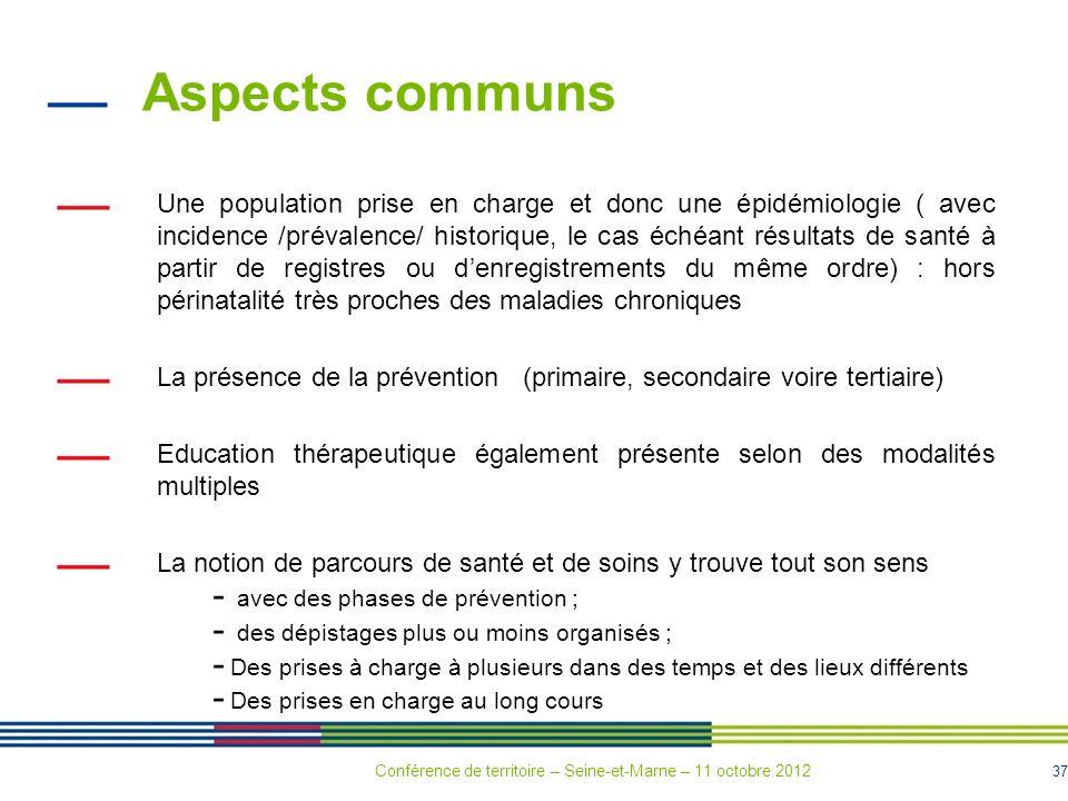 37 Aspects communs Une population prise en charge et donc une épidémiologie ( avec incidence /prévalence/ historique, le cas échéant résultats de sant
